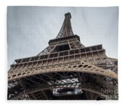 Close Up View Of The Eiffel Tower From Underneath  Fleece Blanket