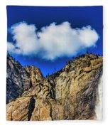Clouds Abover Upper Yosemite Fall Fleece Blanket