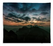 Clouds Over Mountains Fleece Blanket