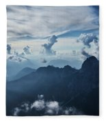 Moody Cloudy Mountains With A Lot Of Contrast And Shadows And Clouds Fleece Blanket