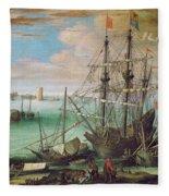 Coastal Landscape With Harbor  Fleece Blanket