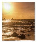 Coastal Sunrise Silhouette Fleece Blanket