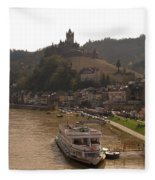 Cochem Castle, Town And River Mosel In Germany Fleece Blanket