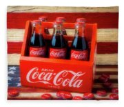 Coke And American Flag Fleece Blanket