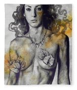 Colony Collapse Disorder - Gold - Nude Warrior Woman With Autumn Leaves Fleece Blanket