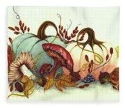 Color Me Autumn - Pumpkins And Mushrooms Fleece Blanket