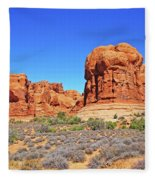 Colorado Arches Park Landscape Scrub Red Rocks Blue Sky 3335 Fleece Blanket