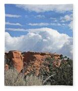 Colorado National Monument Colorado Blue Sky Red Rocks Clouds Trees Fleece Blanket