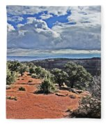 Colorado National Monument Trees Rock Formations Clouds 3001 Fleece Blanket