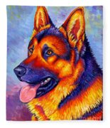 Colorful German Shepherd Dog Fleece Blanket