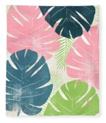Colorful Palm Leaves 1- Art By Linda Woods Fleece Blanket