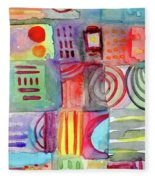 Colorful Patchwork 1- Art By Linda Woods Fleece Blanket