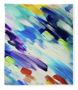 Colorful Rain Fragment 6. Abstract Painting Fleece Blanket