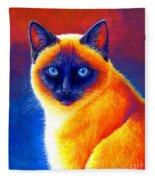 Colorful Siamese Cat Fleece Blanket