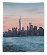 Colorful Sunrise Over The New York Skyline And The Statue Of Lib Fleece Blanket