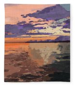 Colorful Sunset Over The Gulf Of Mexico Fleece Blanket