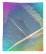 Coloring Contrails Fleece Blanket by Judy Kennedy