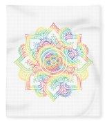 Colourful Rainbow Mandala Lavender Fleece Blanket