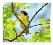 Common Yellowthroat Singing His Little Heart Out Fleece Blanket