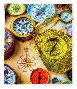 Compass And Compass Rose Fleece Blanket