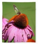 Cone Flower Butterfly At Rest Fleece Blanket