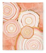 Coral Agate Abstract Fleece Blanket