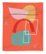 Coral Modern Abstract 2- Art By Linda Woods Fleece Blanket