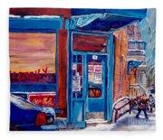 Corner Cafe Clark And Fairmount Wilensky's Winter Scene Habs Hockey Art C Spandau Quebec Artist Fleece Blanket