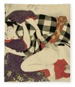 Courtesan With A Client, 1799 Fleece Blanket