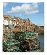 Crail Harbour And Lobster Pots Fleece Blanket