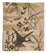 Cranes And Birds At Pond 1880 Fleece Blanket