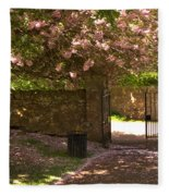 Crichton Church Entrance Gate And Tree In Pink Bloom Fleece Blanket