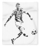 Cristiano Ronaldo Juventus Water Color Pixel Art 1 Fleece Blanket