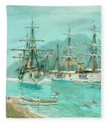 Cruiser And Gunboat Hoist On Ponape The German Flag Fleece Blanket