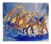 Curious Giraffes  Fleece Blanket