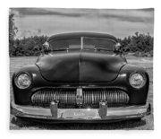 Customized 1950 Mercury In Bw Fleece Blanket