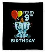 Cute 9th Ninth Birthday Elephant Fleece Blanket