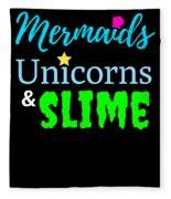 Cute Mermicorn Unicorn Mermaid Slime Birthday Fleece Blanket