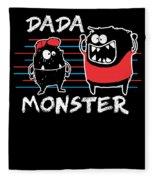 Dada Monster Cute Monster Cartoon For Kids And Dad Dark Fleece Blanket