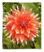 Dahlia Bloom Flower Fleece Blanket