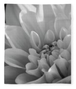 Dahlia In Monochrome Fleece Blanket