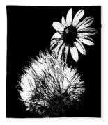 Daisy And Thistle Black And White Fleece Blanket