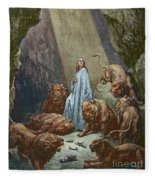 Daniel In The Den Of Lions  Engraving By Gustave Dore Fleece Blanket