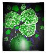 Dark And Delicious Roses  In Green Fleece Blanket