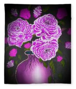 Dark And Delicious Roses In Pink Lilac Fleece Blanket