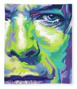 David Bowie Portrait In Aqua And Green Fleece Blanket