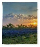 Daybreak In The Land Of Bluebonnets Fleece Blanket