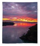 Deception Pass Sunset Landscape Fleece Blanket