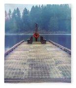 Deep Lake Dock  Fleece Blanket