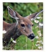 Deer In Daisies Fleece Blanket
